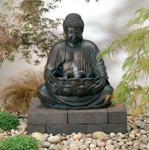 Solar Powered Buddha Water Feature with Light Garden Fountain Outdoor