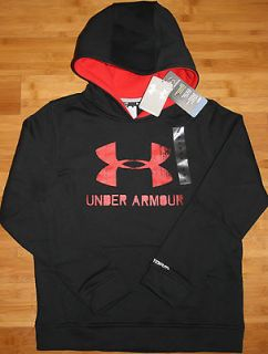 NEW boys UNDER ARMOUR X large YXL STORM hooded sweatshirt BLACK
