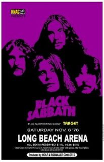 Black Sabbath 1976 box office concert POSTER Long Beach ozzy