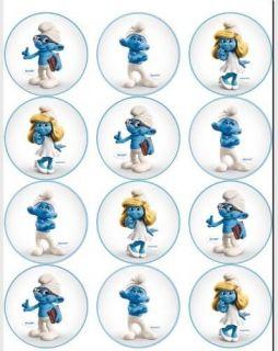 Smurfs   Edible Photo Cup Cake Topper (12)   $3ship
