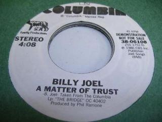 Rock Promo 45 BILLY JOEL A Matter Of Trust on Columbia (Promo)