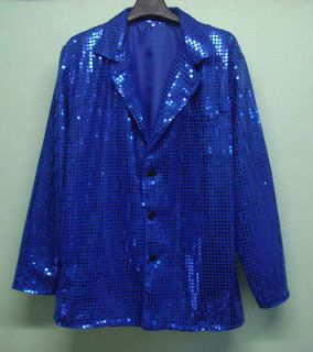 Men Cabaret Disco Fancy Party Dance Singer Glitter Sequin Jacket Blue
