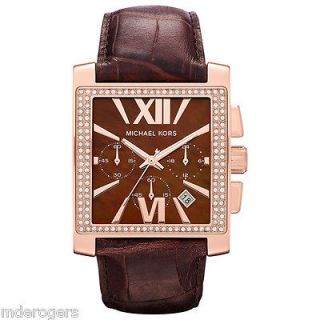 NIB Michael Kors Gia Glitz Crystal Chocolate Leather & Rose Gold Watch