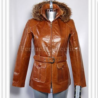 Beyonce Tan Ladies Womens Real Fur Hooded Cowhide Leather Winter