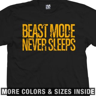 Beast Mode Never Sleeps Distressed Sports Training Workout T Shirt