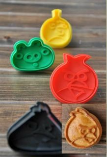 3D Angry Bird Hand Press stamp biscuit cookie cutter set, 4Asst/set