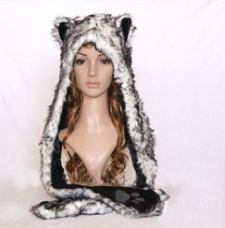 Wolf Full Animal Hood Hoodie Hat Faux Fur W/ Mitten Scarfs Xmas Warm
