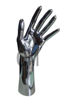 12 TALL FEMALE MANNEQUIN FREE STANDING HAND CHROME (D3 CHROME)