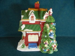 Spode Christmas Tree Village Train Station 11 1/2 Cookie Jar with Lid