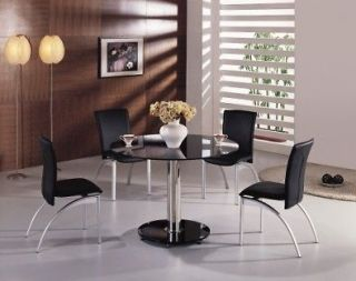 Pcs Modern Tempered Round Glass Dining Room Table and chairs Set