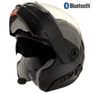 Hawk Bluetooth Transition 2 in 1 Black Modular Helmet tinted sun visor