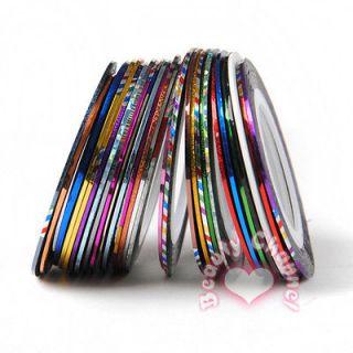 29 Rolls Colour Nail Art Lace Tape Line Strip False Nail Tips Stickers