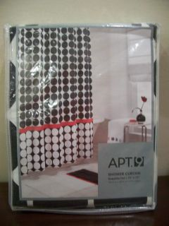 NEW RED WHITE BLACK DOTS FABRIC SHOWER CURTAIN RETRO