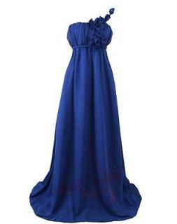 Chiffon Flower One Shoulder Empire Waist Evening Dresses L Royal Blue