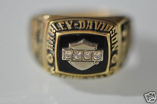 18K YELLOW GOLD GENUINE BLACK ONYX & DIAMONDS HARLEY DAVIDSON RING.