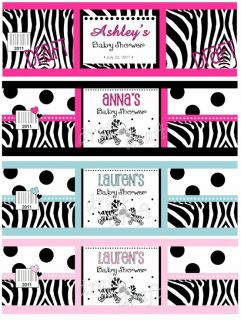 32 Zebra BABY SHOWER WATER BOTTLE LABEL Party Wrapper Cute Fun Favor
