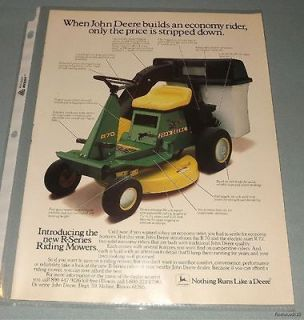 Vintage John Deere R Series Riding Mowers Magazine Advertisement
