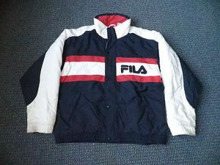Fila Zip Up Puffer Jacket Extra Large XL Blue Red White Grant Hill