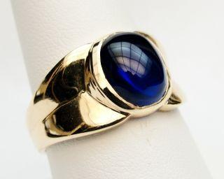 MENS RING VINTAGE ANTIQUE ART DECO BLUE SAPPHIRE 10K YELLOW GOLD