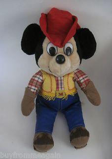 Knickerbocker Mickey Mouse Vintage Disney Stuffed Plush Doll Western