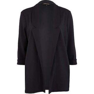 Daisy Bou River Island Navy Blue Ponte 3/4 sleeve Blazer Jacket TOWIE