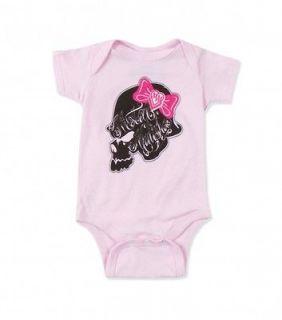 Metal Mulisha Maidens BO PEEP Onesie Baby Girls Pink Short Sleeve