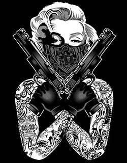 Marilyn Shirt Gangsta Pose With Tats Guns Bandana Tee Marilyn Monroe T