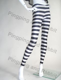 Black white spandex leggings pants tights stripes jail