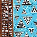 ROBERT KAUFMAN GIRL SCOUT BROWNIE BADGES on aqua blue fabric rare