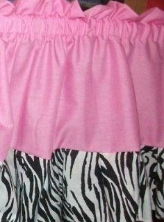 pink zebra nursery window treatment curtain baby bed or bath valance