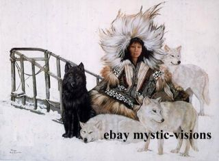 Penni Anne Cross WOMAN WITH HER WOLVES Signed & Numbered Iditarod Race