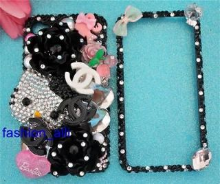 & BARBIE IPHONE 4G & 4S BLACK CRYSTAL BLING 3D DECO PHONE CASE COVER