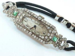 Stunning Art Deco Platinum Diamond & Emerald Set Ladies Cocktail Watch