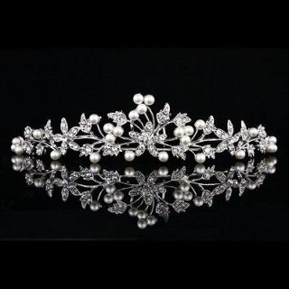 Bridal Flower Blue Crystal Rhinestone Prom Wedding Crown Tiara V662