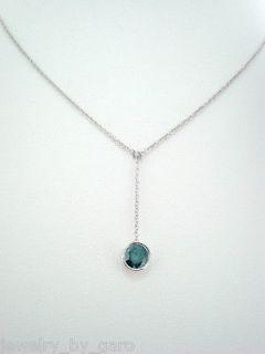 PLATINUM BLUE DIAMOND BY THE YARD SOLITAIRE PENDANT NECKLACE 0.50ct