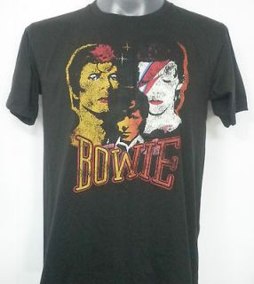 DAVID BOWIE GLAM ROCK T SHIRT BLACK SIZE Medium