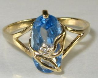 Stunning 2ct Natural Oval Cut Blue Topaz & Diamond 10k Yel Gold Floral