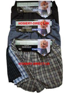 Mens Woven Classic Boxer Shorts Trunks Briefs Cotton Underwear