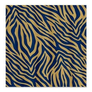 Dark Blue and Gold Zebra Shower Curtain by 669952538