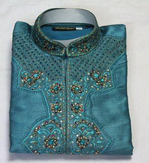 Blue Silk Sherwani Designer Mens Kurta Salwar Kameez Indian Wedding