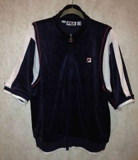 NEW Mens Sz M L XL FILA Retro Borg Velour Short Sleeve Navy Blue