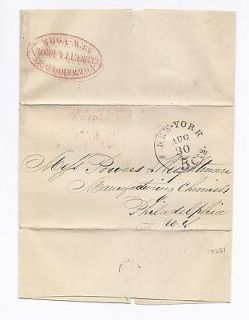 Ca. 1852 Stampless Forwarder Cover   EVERETT & BROWN