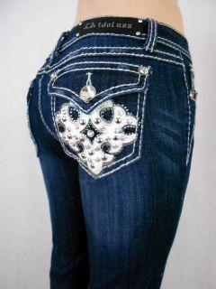Women Plus LA Idol Bootcut Jeans Leather Cross Fleur De Lis Stretch