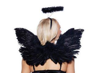 Dark Angel Accessories Black Halo Wings Halloween Costume Kit