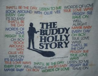 RARE VINTAGE 1970s 70s 1978 THE BUDDY HOLLY STORY ROCK MOVIE PROMO T