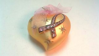 2004 CHRISTMAS GLASS ORNAMENT  BREA​ST CANCER JEWELED RIBBON  GOLD