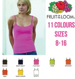 FRUIT OF THE LOOM LADY FIT STRAP T SHIRT VEST STRAPPY TOP CAMISOLE