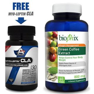Biophix Pure Green Coffee Bean Extract 800 mg 60 Veggie Caps + FREE