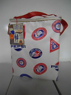 1965 Nappy Pepsi Handi Bag Vinyl Zip Around Cooler World Travel Stamps
