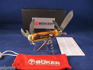 Boker Stag Camp Knife Mint in Box Made In Solingen Germany Thick Stag